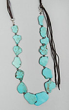 Isac Brown Suede Turquoise Slab Necklace
