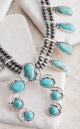 Wired Heart Silver with Large Turquoise Stones Squash Blossom Necklace