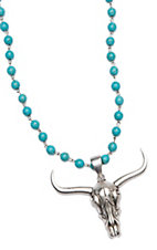 Wired Heart Turquoise Beads w/ Patina Cowskull Pendant Necklace