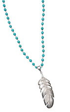 Wired Heart Turquoise Beads w/ Patina Feather Pendant Necklace