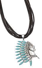 Wired Heart Coffee Suede Leather Multi-Strand With Silver and Turquoise Headdress Necklace