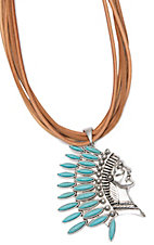 Wired Heart Tan Suede Leather Multi-Strand With Silver and Turquoise Headdress Pendant Necklace