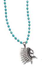 Wired Heart Turquoise Beads with Silver Indian Headdress Pendant Necklace