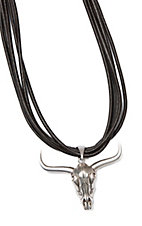 Wired Heart Coffee Suede Leather Multi-Strand With Silver Cowskull Necklace