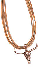 Wired Heart Tan Suede Leather Multi-Strand With Copper Cowskull Necklace
