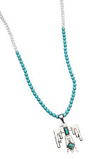 Wired Heart Clear and Turquoise Beads w/ Thunderbird Pendant Necklace