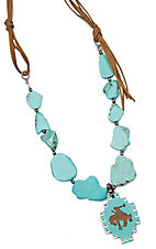 Wired Heart Large Turquoise Stones w/ Large Turquoise Wood Cutout Charm Necklace