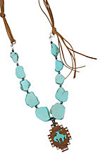 Wired Heart Large Turquoise Stones w/ Large Brown Wood Cutout Charm Necklace
