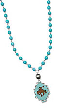 Wired Heart Synthetic Turquoise Beads w/ Turquoise Wood Cutout Charm Necklace