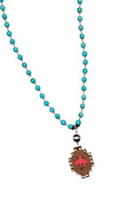 Wired Heart Synthetic Turquoise Beads w/ Brown Wood Cutout Charm Necklace