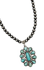 Wired Heart Silver Beads w/ Turquoise Stone Pendant Necklace