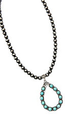 Wired Heart Silver Beads w/ Turquoise Stone Bead Teardrop Pendant Necklace