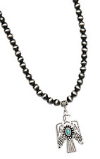 Wired Heart Silver Beads w/ Thunderbird Pendant Necklace