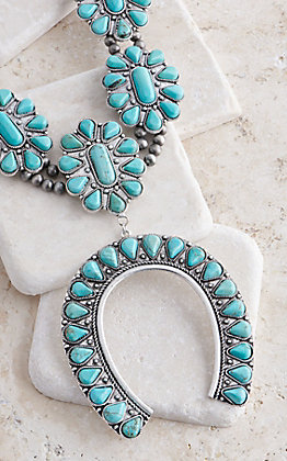 Wired Heart Turquoise Stones Flower Squash Blossom Necklace