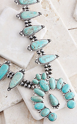 Isac Turquoise & Navajo Beaded Squash Blossom Necklace