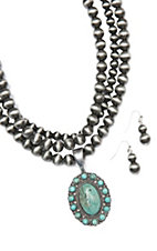 Wired Heart Silver Beaded Triple Strand w/ Turquoise Round Pendant Necklace and Silver Beaded Earrings Jewelry Set