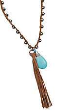 Wired Heart Leather Knot and Beaded w/ Turquoise Teardrop and Fringe Necklace