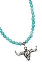 Wired Heart Turquoise Natural Gemstone w/ Skull Pendant Necklace