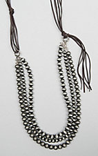 Isac Three Strand Pearl and Brown Suede Necklace