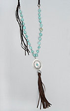 Wired Heart Faux Leather Concho Turquoise Necklace