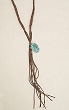 Wired Heart Long Suede Turquoise Pendant Necklace