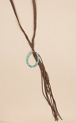 Isac Suede Braided and Turquoise Pendant Necklace