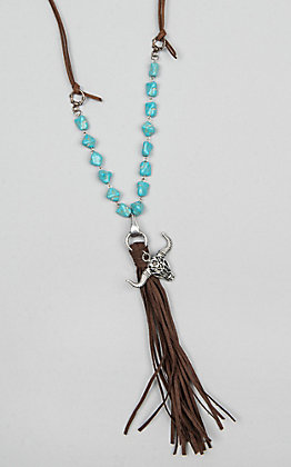 Isac Coffee Suede Longhorn Tassel and Turquoise Necklace