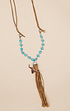 Isac Tan Suede Longhorn Tassel and Turquoise Necklace