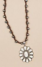 Isac Braided Suede White Turquoise Necklace