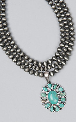 Wired Heart Women's Silver Navajo Pearl With Turquoise Pendant Necklace