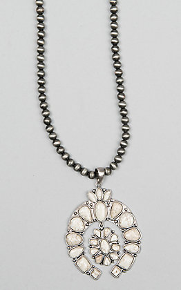 Isac Silver Beaded White Turquoise Squash Blossom Pendant Necklace
