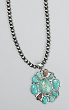 Wired Heart Navajo Beaded with Turquoise Blossom Pendant Necklace