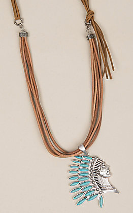 Isac Women's Five Strand Leather Turquoise Necklace