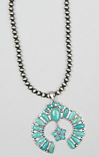 Isac Silver Beaded with Turquoise Squash Blossom Pendant Necklace