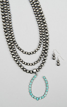 Isac Three Strand Natural Stone and Turquoise Necklace