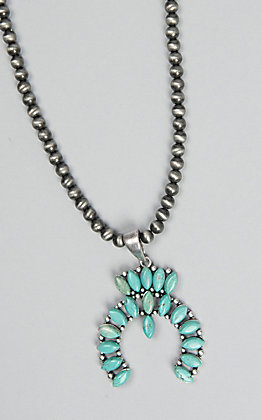 Wired Heart Silver Beaded with Turquoise Squash Blossom Pendant Necklace