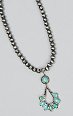 Wired Heart Silver Beaded with Turquoise Stone Pendant Necklace