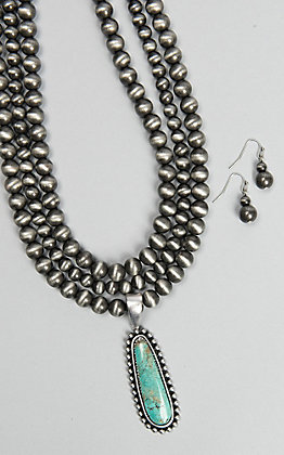 Wired Heart 3 Strand Navajo Pearl Turquoise Neckalce