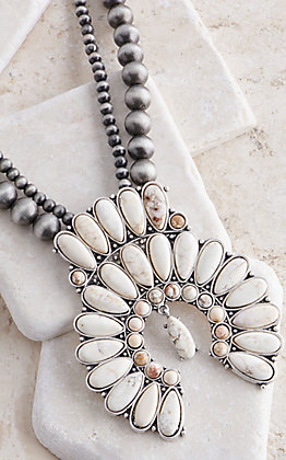 Wired Heart Navajo Beaded White Squash Blossom Necklace