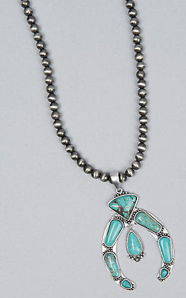 Wired Heart Navajo Beaded & Turquoise Squash Blossom Pendant Necklace
