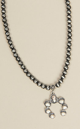 Wired Heart Silver Beaded with White Stone Pendant Necklace