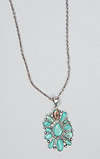 Wired Heart Natural Stone Cable Chain Turquoise Necklace