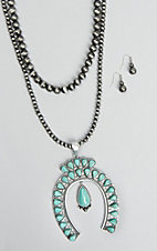 Wired Heart Beaded with Turquoise Squash Blossom Pendant Necklace