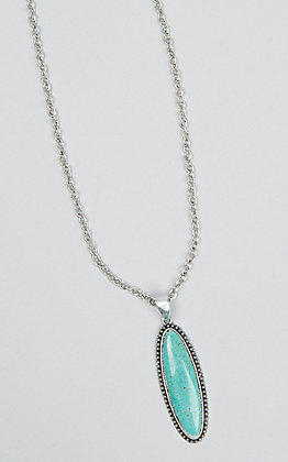 Wired Heart Women's Cable Chain with a Turquoise Pendant Necklace