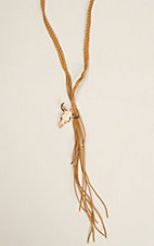 Wired Heart Long Braided Suede Longhorn Pendant Necklace