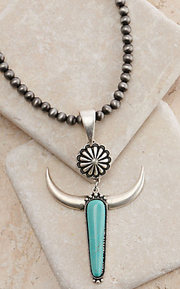 Isac Trading Silver Beaded with Turquoise Longhorn Pendant Necklace