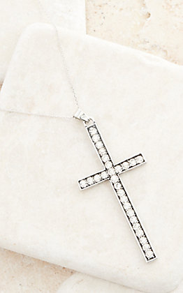 Sterling Silver Chain with Crystal Cross Pendant Necklace