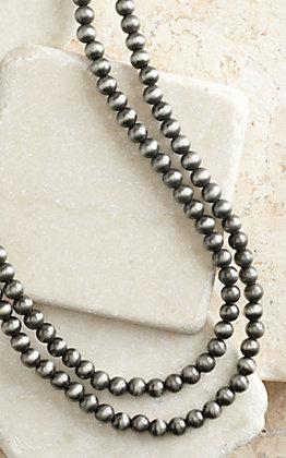 Silver Navajo Pearl Beaded Extra Long Layering Necklace