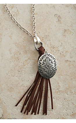 Silver Chain with Oval Concho Pendant and Brown Tassel Necklace