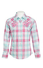 Lore Mae Girl's Pink and Blue Plaid wtih Pink Embroidered Yokes Western Snap Shirt